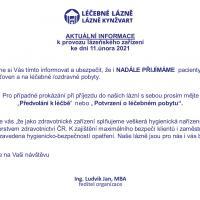 Aktuální informace k provozu lázeňského zařízení 11.2.2021, 11. 2. 2021